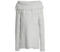 Tasseled ribbed cotton-blend sweater