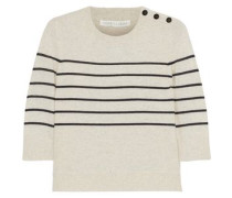 Knot Mariner Oxford-paneled Striped Silk And Cashmere-blend Top Ivory