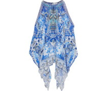 Cold-shoulder embellished printed silk crepe de chine kaftan