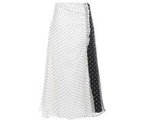 Pleated Polka-dot Silk-chiffon Midi Skirt