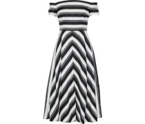 Off-the-shoulder Striped Cotton And Silk-blend Midi Dress Black