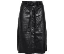 Flared Leather Skirt Black