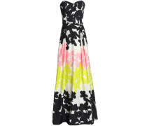 Ava strapless printed cotton-blend gown