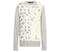Floral-print Crepe-paneled Silk And Cotton-blend Sweater Ivory