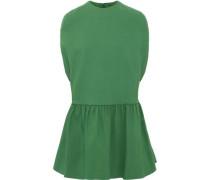 Woman Ruffled Wool And Silk-blend Mini Dress Green