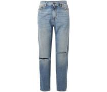 Woman Distressed High-rise Boyfriend Jeans Mid Denim