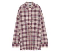 Frayed Checked Cotton-blend Flannel Shirt Beige