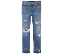 Cropped Distressed High-rise Straight-leg Jeans Mid Denim  5