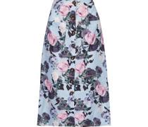 Floral-print Linen Midi Skirt Sky Blue Size 0