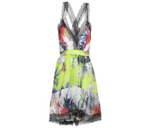 Lace-trimmed Floral-print Silk-organza Dress Multicolor