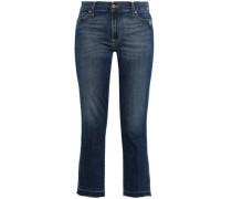 Cropped Faded Mid-rise Slim-leg Jeans Dark Denim  4