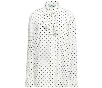 Woman Pussy-bow Polka-dot Silk Crepe De Chine Blouse Ivory
