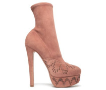 Studded Suede Platform Ankle Boots Antique Rose