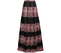 Paneled Guipure Lace Maxi Skirt Black