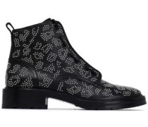 Beaded Leather Ankle Boots Black
