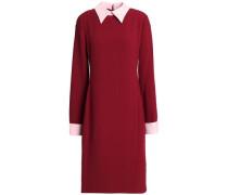 Wrap-effect two-tone crepe shirt dress
