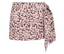 Lottie Leopard-print Cotton-voile Mini Wrap Skirt Antique Rose