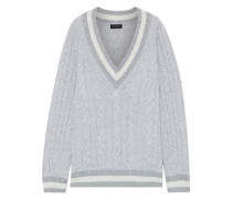 Theon Striped Cable-knit Merino Wool Sweater Light Gray