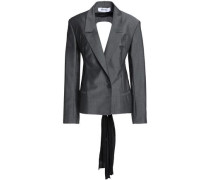 Crepe de chine-paneled wool and mohair-blend blazer