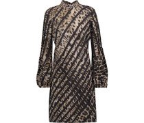 Paneled printed silk mini dress