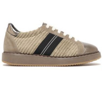 Bead-embellished Suede And Leather-paneled Corduroy Sneakers Brass