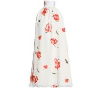 Lace-up floral-print crepe de chine mini dress
