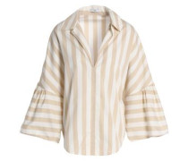 Striped cotton-poplin top