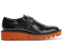 Buckled patent-leather brogues