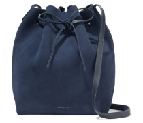 Woman Leather-trimmed Suede Bucket Bag Storm Blue