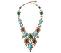 Gold-tone, stone and crystal necklace