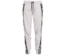 Printed Cotton-jersey Track Pants Light Gray