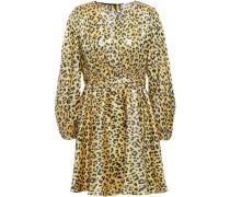 Heyford Leopard-print Silk-blend Jacquard Mini Dress Yellow