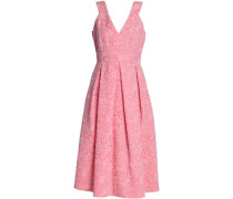 Pleated Cloqué Midi Dress Baby Pink Size 12