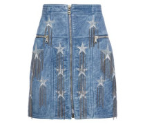 Chain-embellished Metallic Embroidered Leather Mini Skirt Light Blue