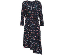 Asymmetric Printed Crepe De Chine Wrap Dress Midnight Blue