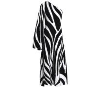 One-shoulder angora-blend maxi dress