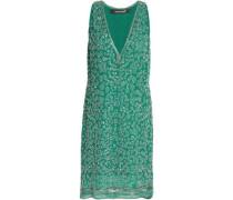 Bead-embellished silk mini dress
