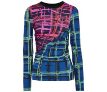 Ruched Paneled Printed Jersey Top Multicolor