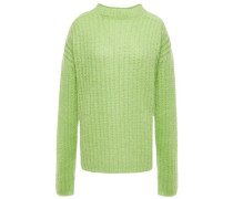 Woman Oversized Ribbed Mohair-blend Sweater Light Green