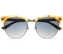 Clubmaster Printed Acetate And Burnished Gold-tone Sunglasses Gold Size --
