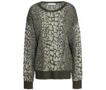 Metallic Jacquard-knit Sweater Army Green