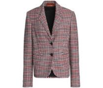 Crochet-knit wool-blend blazer