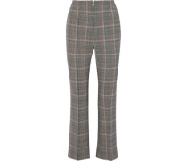 Cropped Houndstooth Wool-blend Flared Pants Gray