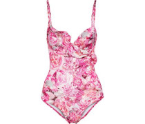 Open-back ruffle-trimmed floral-print underwired swimsuit