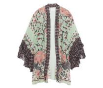 Rubaiyat Floral-print Silk-chiffon Kimono Light Green Size ONESIZE