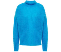 Woman Oversized Open-knit Mohair-blend Turtleneck Sweater Azure