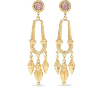 24-karat Gold-plated Stone Earrings Gold Size --