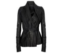 Pleated leather wrap jacket
