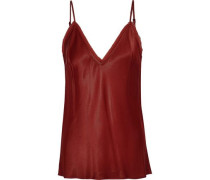 Frayed Crinkled Satin-crepe Camisole Brick