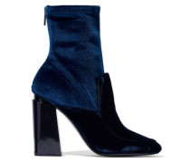 Two-tone velvet ankle boots